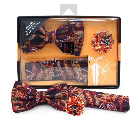 Men's Paisley  Banded Bow Tie, Matching Hanky & Lapel Pin Set