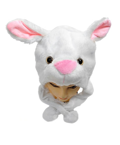 Animal Plush Hat - White Bunny