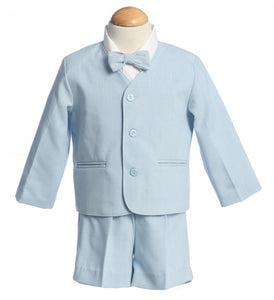 Eton and Shorts Style G730S - Light Blue Eton and Shorts Set - Little N Kute Boutique