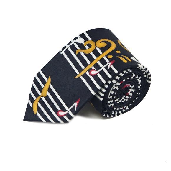 Men's Music Note Black Novelty Tie
