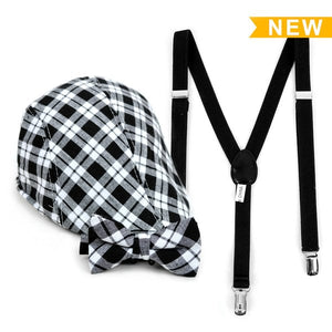 Boy's Suspender Clip-on Plaid Ivy Hat & Matching Bow Tie Set (4-7 Years - Little N Kute Boutique