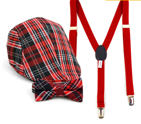 Boy's Red Plaid Clip-on Bow Tie Suspender, Matching Ivy Hat Set (4-7 Years