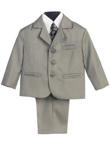 Boys' Gray Suit 5 Piece - Little N Kute Boutique