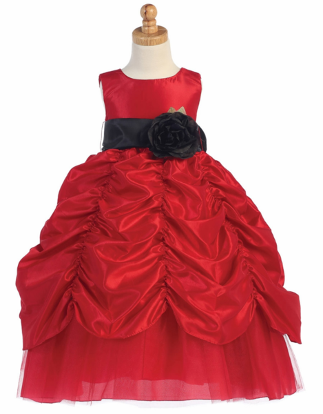 Red Flower Girls  Dresses - Little N Kute Boutique