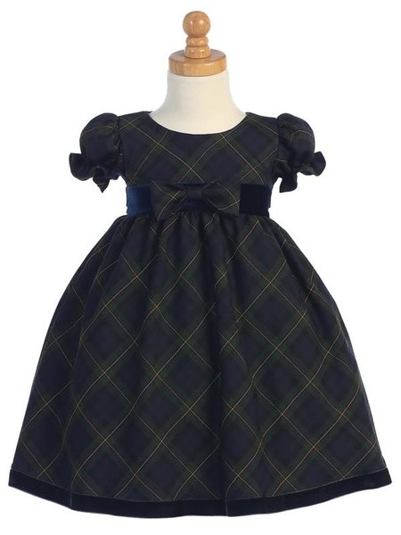 Green Plaid Girls Dress w/ Velvet Trim - Little N Kute Boutique
