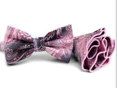 Men's Paisley BowTie & Matching Hanky Pocket Round Set