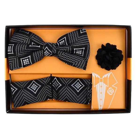 Men's Diamond Banded Bow Tie Matching Hanky & Lapel Pin Set - Little N Kute Boutique