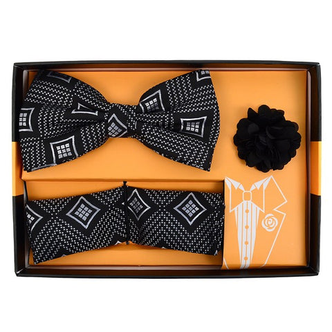 Men's Diamond Banded Bow Tie Matching Hanky & Lapel Pin Set