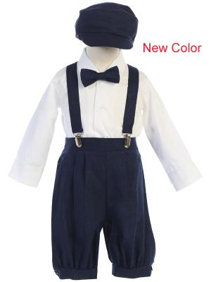 Navy Suspender Boys Knickers w/ Hat - Little N Kute Boutique