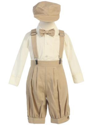Khaki Suspender Boys Knickers w/ Hat - Little N Kute Boutique