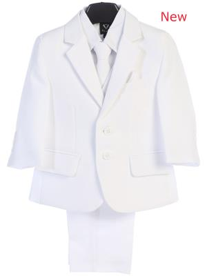 Boys White   Suits 5 pc Jacket  Suit - Little N Kute Boutique