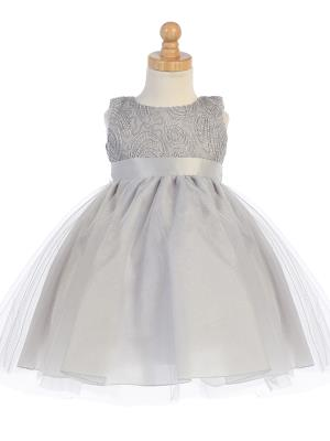 Silver Corded Tulle Bodice w/ Shiny Tulle Holiday / Christmas Girls' Dress
