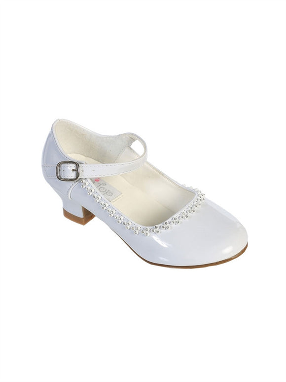 Flower Girls Rhinestone Detailed Patent Heel Shoes GS-002 - Little N Kute Boutique