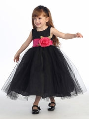 Blossom Black Poly Silk Bodice & Tulle Skirt Dress w/ Detachable Flower & Sash - Little N Kute Boutique