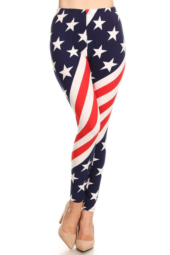 American Flag Women's Leggings One Size - Little N Kute Boutique