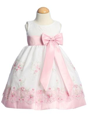 White Organza Easter Dress with Embroidery and Matching Taffeta Waistband, Sash, and Bow - Little N Kute Boutique
