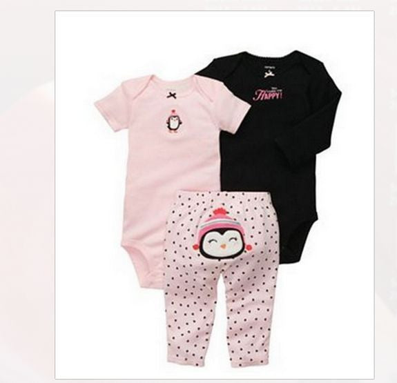 Baby Girls 3-pc Bodysuit With Matching Pants - Little N Kute Boutique