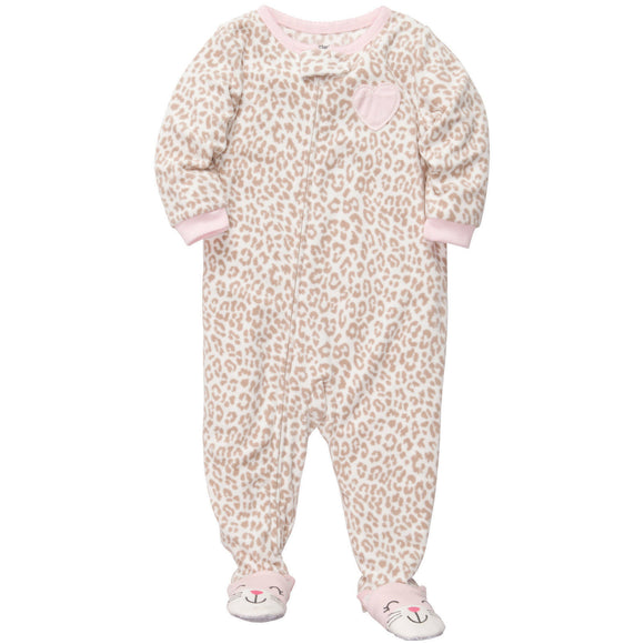 NWT CARTER'S Baby Girl's Sleep and Play Footed Pajamas Cotton Footed SleeperLeopard Cat