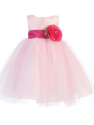 Blossom Pink Poly Silk Bodice & Tulle Skirt Dress w/ Detachable Flower & Sash - Little N Kute Boutique