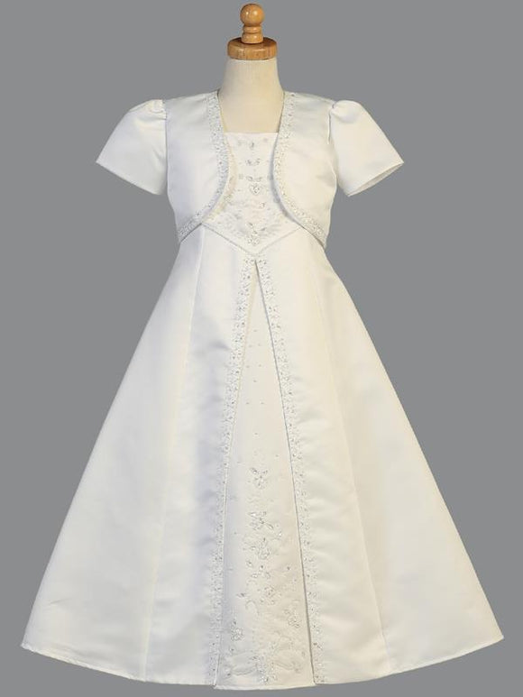Girls  First Communion Dress w/ Bolero Satin Emimbroidered A- line