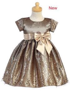 BIG GIRLS GOLD POLKA DOT TULLE SHINY SATIN BOW CHRISTMAS DRESS 2T -10 - Little N Kute Boutique