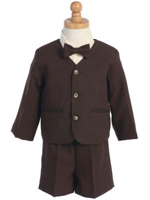 Eton and Shorts Style G740 Brown  Jacket  Shorts  Set - Little N Kute Boutique