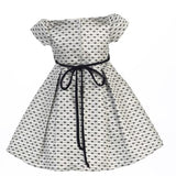 Little Girl's Velvet Sash Bows Jacquard Christmas Dress