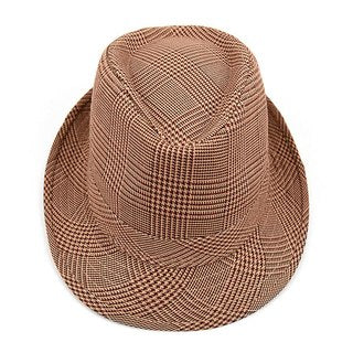 Fedora Hat Hounds Tooth Brown Trilby - H10334N - Little N Kute Boutique