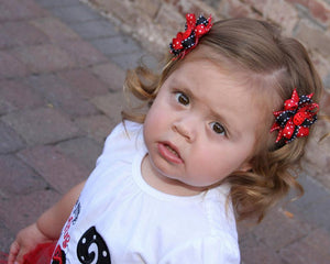Ladybug Toddler/Infants Hair Bows/ Clippies - Little N Kute Boutique