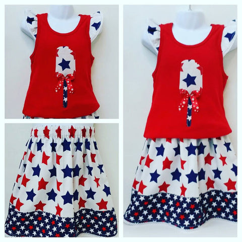 4th ofJuly Girls 2 Piece Outfit Set Size 6