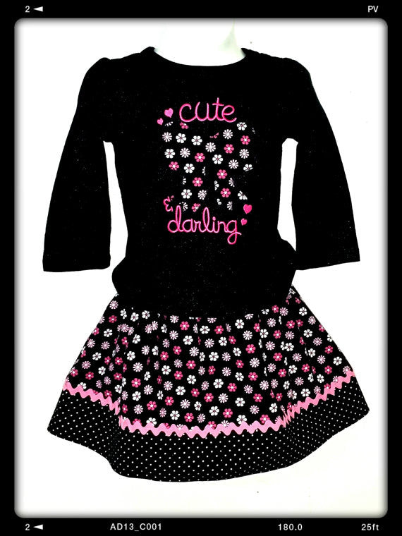 Handmade Baby Girl's 2-piece outfit size 12 M HM-02 - Little N Kute Boutique