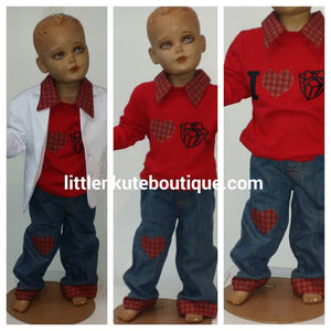 Boy's Christmas Outfit Shirt and Matching Christmas Pants - Little N Kute Boutique