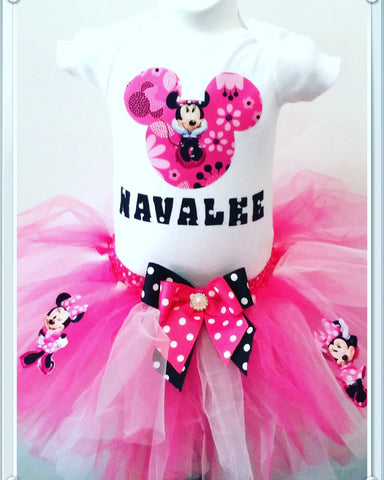 Mouse birthday shirt  with tutu skirt boutique birthday hat. Minnie Mouse party outfit