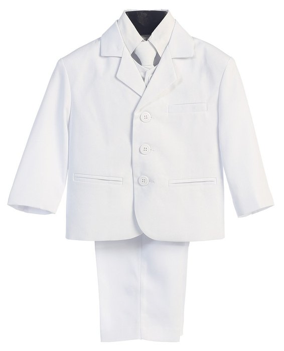 Lito 5 Piece White first  Communion or Christening  suit with  shirt , vest , and Tie size 9-12 months - Little N Kute Boutique