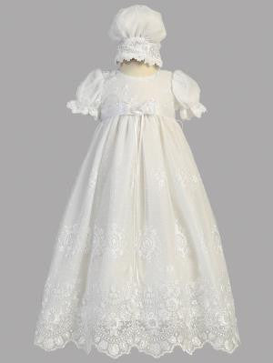 Baby Girls White Embroidered Tulle Gown Bonnet Baptism Set Cg 001