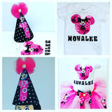 Birthday shirt  with tutu skirt boutique birthday hat. party outfit - Little N Kute Boutique