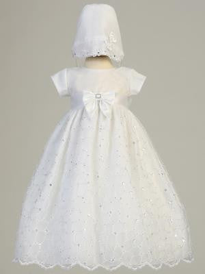 Baby Girls Baptism Embroidred Organza  Baptism Gown w/ Sequins - Little N Kute Boutique