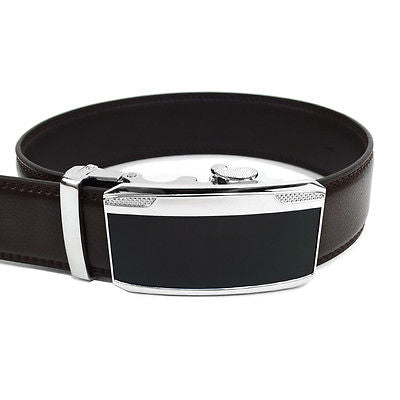 Men's Leather Ratchet Belt with Black Mirror Automatic Buckle (MGLBB22)