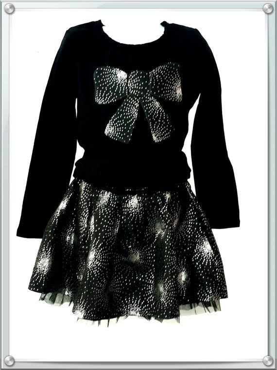 Girl's 2-piece silver and black  skirt  set outfit size 6  HG-06 - Little N Kute Boutique