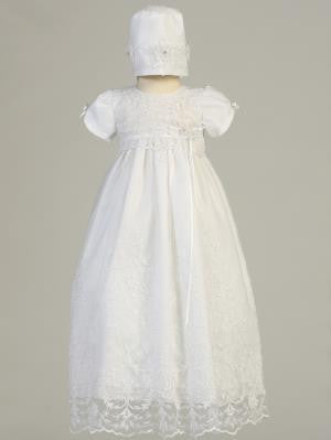Baby Girls White Embroidered Tulle Gown Bonnet Baptism Set CG-005