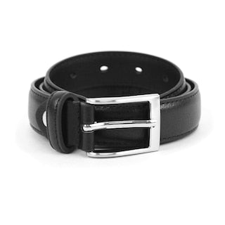 Boy's Genuine Leather Dress Black Belt - Little N Kute Boutique