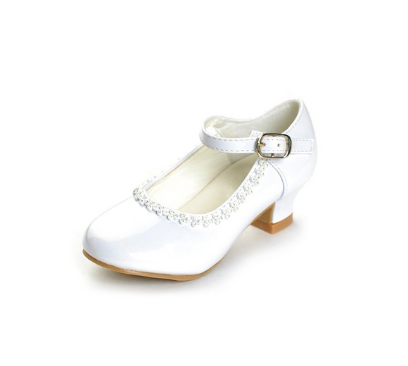 Flower Girls Rhinestone Detailed Patent Heel Shoes  GS-001 - Little N Kute Boutique
