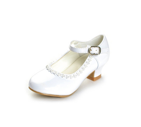 Flower Girls Rhinestone Detailed Patent Heel Shoes  GS-001