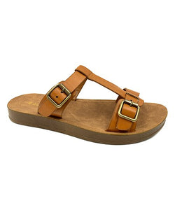 Tan Buckle-Accent Marmie Sandal - Women - Little N Kute Boutique