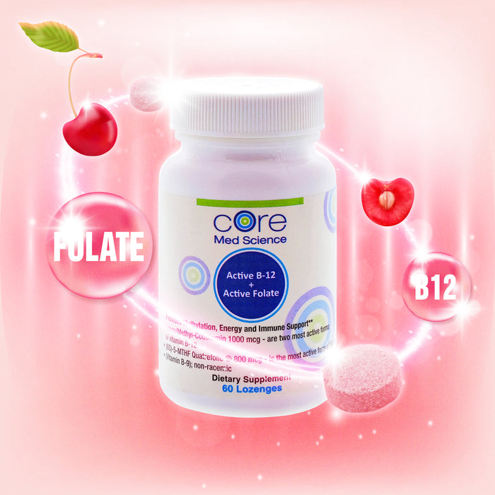 Active Methyl B-12 and Folate 5-MTHF Lozenge (Cherry Flavored) | 800 mcg B-12 + 1000 mcg Folate | Non-GMO – Made in the USA – cGMP - 30 Day Supply