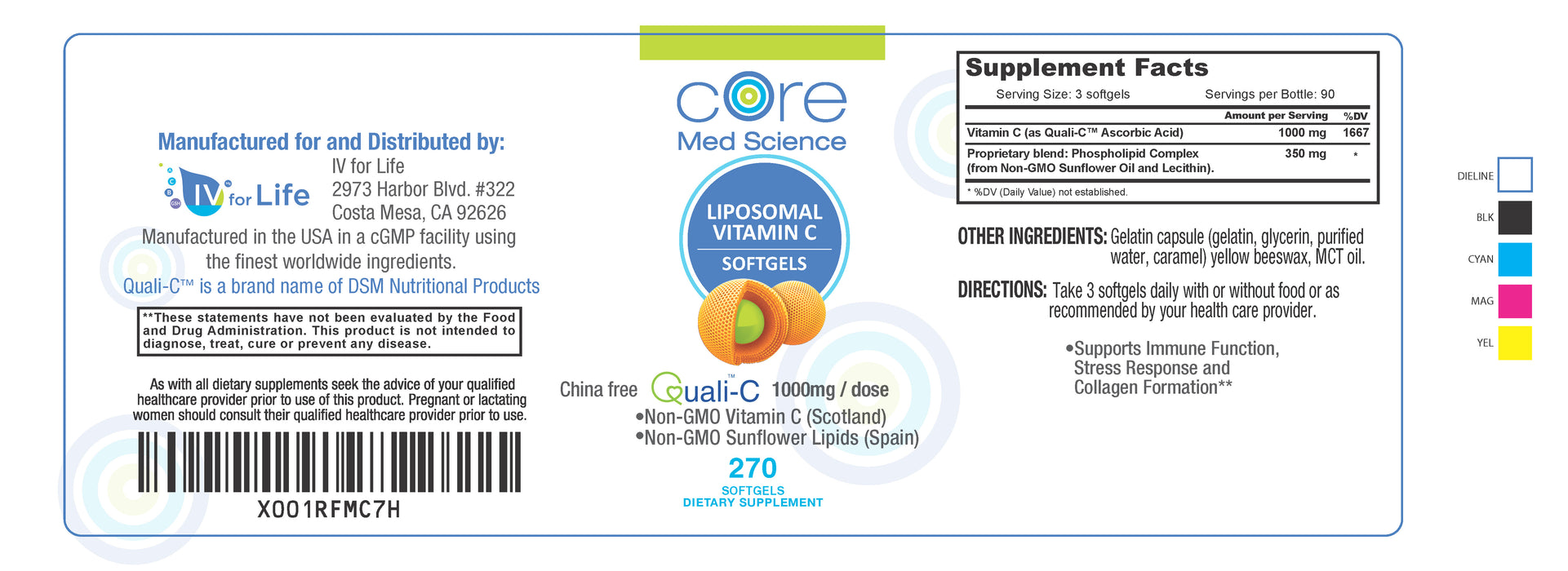 Liposomal Vitamin C Softgels 3 MONTH Supply – Quali®-C Vitamin C from Scotland – Non-GMO – USA Made – cGMP - 270 softgels, 90 Servings of 1000mg