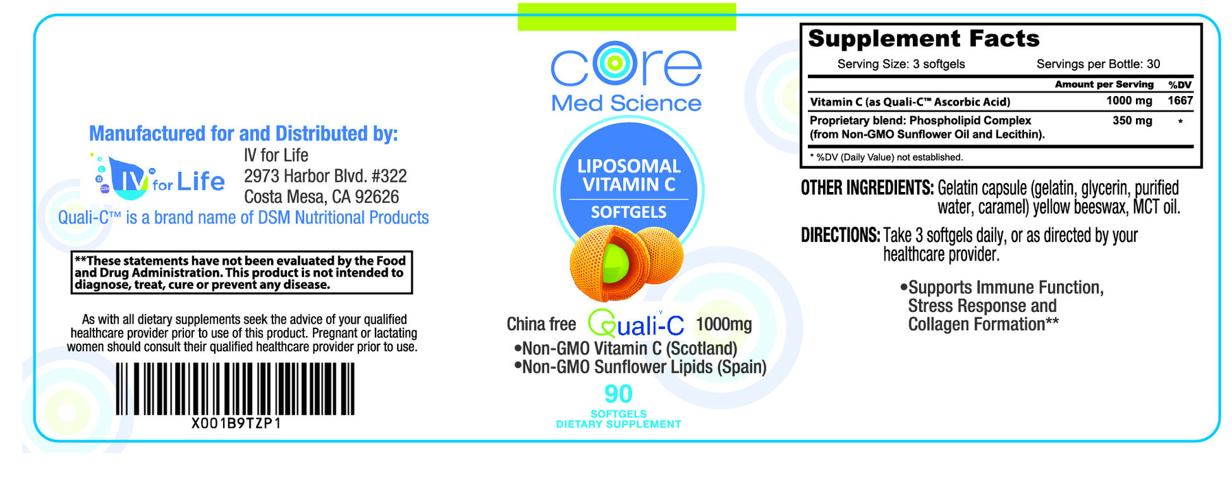 Liposomal Vitamin C Softgels – Gold Standard Quali®-C Vitamin C from Scotland – Non-GMO – Made in the USA – cGMP - Thirty 1000mg Servings