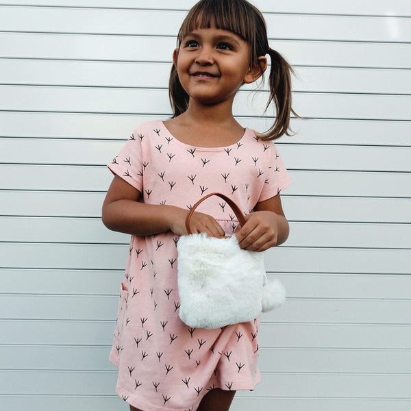 "Organic chalk pink cotton dress with ""birdy feet"" print"