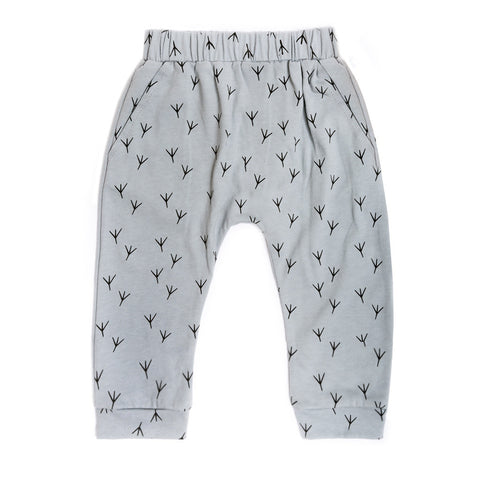 "Organic light grey cotton harem pant with ""birdy feet"" print"