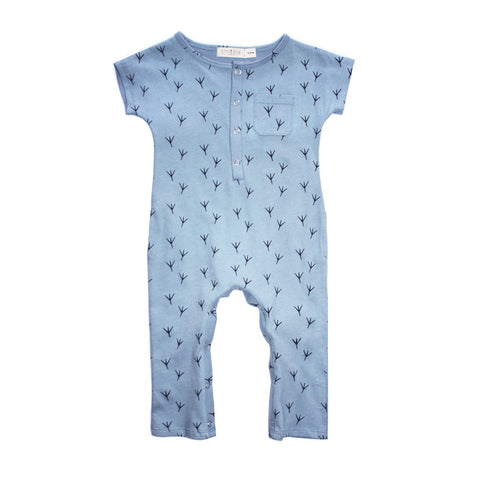 "Organic soft blue cotton playsuit with ""birdy feet"" print"